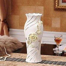 Vase Blume Blume Ornamente Keramik Wohnzimmer TV-Schrank Dekoration, Groß, Gelb für Mittelstücke Weihnachten Geburtstag Hochzeit Party Geschenk Desktop Home Decor