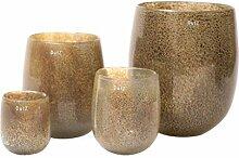 Vase Dutz BARREL, silverbrown bubbles (H18 D14,5)