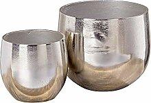 Vase Flaire Übertopf Aluminium Silber 2er Se