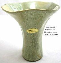 Vase Keramik ca. 17 cm Bambus grün Echt Handarbei