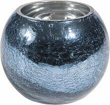 Vase mit Crackle-Effekt aus blauem Glas H10
