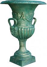 Vase mit Griffen aus Gusseisen antik bronziert