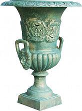 Vase mit Griffen aus Gusseisen mit antikiertem und