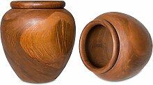 Vase Teakholz ca. 30cm | Holzvase Dekorvase