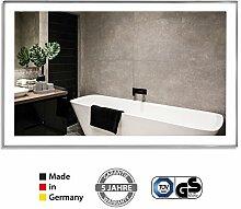 VASNER Zipris S LED – Infrarotheizung Spiegel mit Licht, 700 Watt, Titan Rahmen, LED Beleuchtung, ESG Glas für Bad, TÜV, 5 J Herstellergarantie, Made in Germany – Spiegelheizung, Elektroheizung