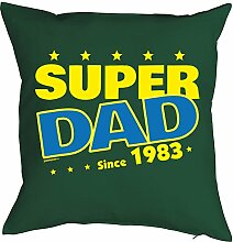 Vater Sprüche-Kissen zum 35 Geburtstag - Geschenk-Idee Dekokissen Jahrgang 1983 : Super Dad since 1983 -- Geburtstag 35 Kissen Farbe: dunkelgrün
