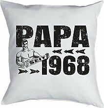 Vater Sprüche-Kissen zum 50 Geburtstag - Geschenk-Idee Dekokissen Jahrgang 1968 : Papa seit 1968 -- Geburtstag 50 Kissen Farbe: weiss