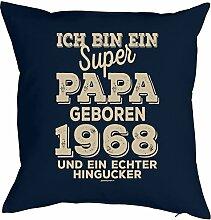 Vater Sprüche-Kissen zum 50 Geburtstag - Geschenk-Idee Dekokissen Jahrgang 1968 : ..super Papa geboren 1968 -- Geburtstag 50 Kissen Farbe: navyblau