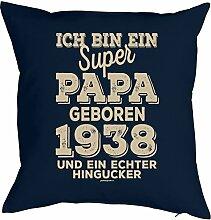 Vater Sprüche-Kissen zum 80 Geburtstag - Geschenk-Idee Dekokissen Jahrgang 1938 : ...super Papa geboren 1938 -- Geburtstag 80 Kissen Farbe: navyblau