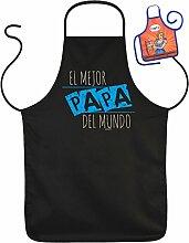 Vatertag Grill Schürze - El Mejor PAPA Del Mundo - mit kleiner Fun-Schürze
