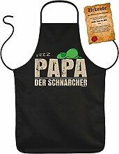 Vatertag Grill Schürze - PAPA der Schnarcher - mit Bester Vater der Welt-Urkunde