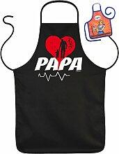 Vatertag Grill Schürze - PAPA - mit kleiner Fun-Schürze