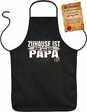 Vatertag Grill Schürze - Zuhause ist wo mein PAPA ist - mit Bester Vater der Welt-Urkunde