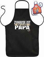 Vatertag Grill Schürze - Zuhause ist wo mein PAPA ist - mit kleiner Fun-Schürze