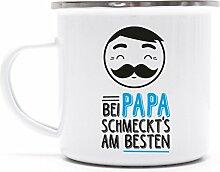 Vatertag Metalltasse Emaille Kaffee Becher