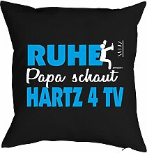 Vatertag Vatertagsgeschenk Papa Kissen Geburtstag Weihnachten Geschenk Geschenkidee für Papa Ruhe Papa schaut Hartz 4 TV
