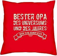 Vatertagsgeschenk Geburtstagsgeschenk Weihnachtsgeschenk Großvater :-: Bester Opa des Universums :-: Geschenkidee Sofakissen Kissen mit Füllung Farbe: ro