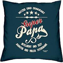 Vatertagsgeschenk Geburtstagsgeschenk Weihnachtsgeschenk Männer Vater :-: Super Papa :-: Geschenkidee Sofakissen Kissen mit Füllung Farbe: navy-blau