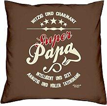 Vatertagsgeschenk Geburtstagsgeschenk Weihnachtsgeschenk Männer Vater :-: Super Papa :-: Geschenkidee Sofakissen Kissen mit Füllung Farbe: braun
