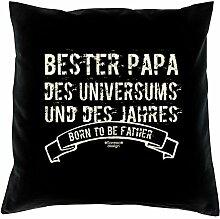 Vatertagsgeschenk Geschenkidee Vater-Schwieger-Papa Bester Papa des Universums :-: Weihnachtsgeschenk :-: Kissen mit Füllung als Geburtstagsgeschenk Farbe:schwarz