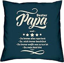 Vatertagsgeschenk Geschenkidee Vater-Schwieger-Papa Bester Papa weil Valentinstagsgeschenk Kissen mit Füllung Farbe:navy-blau