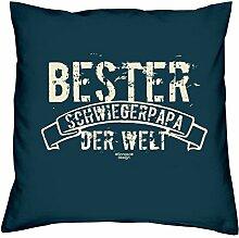 Vatertagsgeschenk Geschenkidee Vater-Schwieger-Papa Bester Schwiegerpapa der Welt :-: Weihnachtsgeschenk :-: Kissen mit Füllung als Geburtstagsgeschenk Farbe:navy-blau