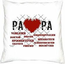 Vatertagsgeschenk Geschenkidee Vater-Schwieger-Papa Herz Papa :-: Weihnachtsgeschenk :-: Kissen mit Füllung als Geburtstagsgeschenk Farbe:weiss