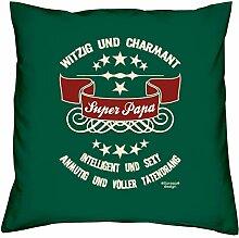 Vatertagsgeschenk Geschenkidee Vater-Schwieger-Papa Super Papa :-: Weihnachtsgeschenk :-: Kissen mit Füllung als Geburtstagsgeschenk Farbe:dunkelgrün
