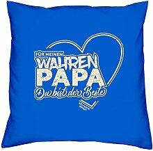 Vatertagsgeschenk Geschenkidee zum Vatertag :-: Für meinen wahren Papa Geschenk mit Herz für Ihn Vater und Männer Größe 40x40 cm Farbe: royal-blau