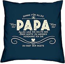 Vatertagsgeschenk : Kissen mit Urkunde :: Danke Papa : Geschenk für den Vater Stiefpapa Adoptivpapa : Persönliche Geschenk-idee zum Vatertag 40x40 Farbe: navy-blau