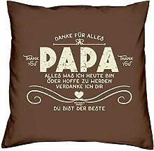 Vatertagsgeschenk : Kissen mit Urkunde :: Danke Papa : Geschenk für den Vater Stiefpapa Adoptivpapa : Persönliche Geschenk-idee zum Vatertag 40x40 Farbe: braun