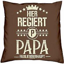 Vatertagsgeschenk Kissen und Urkunde :+: Hier regiert Papa :+: Geschenkset Vatertag Geschenk Geschenkidee Farbe: braun