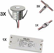 VBLED® 3er Set 3W Mini-Einbauspot Einbaustrahler