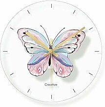 VBLSJ Glas Schmetterling Wanduhr Für Kinderzimmer