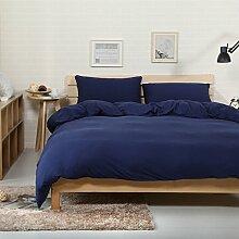 VClife® Baumwolle Bettwäscheset Dunkelblau Bettware Mit Reißverschluss 3 Tlg Bettbezug 200 x 200cm & 2 Kissenbezüge 80 x 50cm