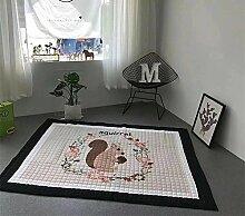 VClife® Baumwolle Teppich Kinderteppich Baby Krabbeldecke Kinder Spielteppich Zimmer Dekoartikel Geschenk Yoga Balkon Picknick Wiese Strand 145 x 195cm Einhörchen