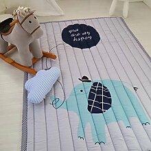 VClife® Baumwolle Teppich Kinderzimmer Spielteppich Kinder Baby Krabbeldecke Süße Maus Geschenk Schlafzimmer Wohnzimmer Yoga Balkon Studiozimmer 140 x 200cm Elefan