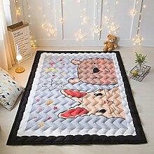 VClife® Kinderteppich Teppich Kinder Spielteppich Baby Krabbeldecke Polyester Zimmer Dekoartikel Picknick Wiese Strand 145 x 195 x 2,5cm Hase & Bär