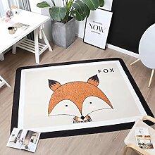 VClife® Polyester Teppich Kinder Teppiche Baby Krabbeldecke Spielteppich Geschenk Dekoartikel für Kinderzimmer Wohnzimmer Schlafzimmer Wiese Strand Matte 150 x 200cm Fuchs