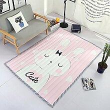 VClife® Polyester Teppich Kinderteppich Baby Krabbeldecke Zimmer Dekoartikel Spielteppich Geschenk Yoga Training Kindergarten Picknick Wiese Strand 150x190x1,2cm Hase