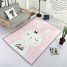 VClife® Polyester Teppich Kinderteppich Baby Krabbeldecke Zimmer Dekoartikel Spielteppich Geschenk Yoga Training Kindergarten Picknick Wiese Strand 150x190x2cm Hase