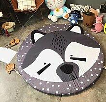 VClife Spielteppich Kinderzimmer Babyteppich Schlafzimmer Wohnzimmer Dekoartikel Yoga Lauf Teppich Lesen Camping Picnic Ausflug Wiese Sandstrand Durchmesser von 150cm Fuchs