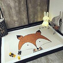 VClife® Teppich 100% Baumwolle Kinderteppich Spielteppich Baby Laufteppich Kinderzimmer Schlafzimmer Wohnzimmer Boden Kinder Geschenk Steppen Weich 145x190cm Fuchs