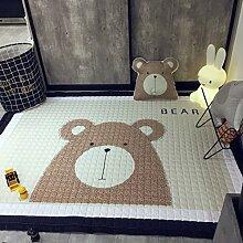 VClife® Teppich 100% Baumwolle Kinderteppich Spielteppich Baby Laufteppich Kinderzimmer Schlafzimmer Wohnzimmer Boden Kinder Geschenk Steppen Weich 145x190cm Bär