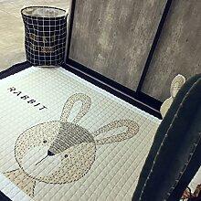 VClife® Teppich 100% Baumwolle Kinderteppich Spielteppich Baby Laufteppich Kinderzimmer Schlafzimmer Wohnzimmer Boden Kinder Geschenk Steppen Weich 145x190cm Hase