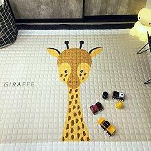 VClife® Teppich 100% Baumwolle Kinderteppich Spielteppich Baby Laufteppich Kinderzimmer Schlafzimmer Wohnzimmer Boden Kinder Geschenk Steppen Weich 145x190cm Giraffe