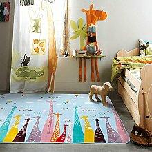 VClife® Teppich Baumwolle Polyester Kinder Spielteppich Baby Krabbeldecke Yoga Training Kinderdecke Geschenk Studiozimmer Wohnzimmer Schlafzimmer Balkon Picnic Ganzjährig Giraffen 150 x 195cm