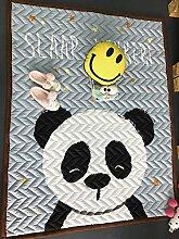 VClife® Teppich Kinderteppich 100% Baumwolle Baby Krabbeldecke Mädchen Kinder Spielteppich Yoga Schlafzimmer Wohnzimmer Kinderzimmer Studiozimmer Boden Picnic 145 x 195cm Panda