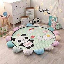 VClife® Teppich Kinderteppich Baumwolle Spielteppich Yoga Schlafzimmer Wohnzimmer Sofa Boden Studiozimmer Dekoartikel Baby Krabbeldecke Geschenk Gesteppt Durchmesser von 150cm Panda Elefan