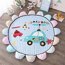 VClife® Teppich Kinderteppich Baumwolle Spielteppich Yoga Schlafzimmer Wohnzimmer Sofa Boden Studiozimmer Dekoartikel Baby Krabbeldecke Geschenk Gesteppt Durchmesser von 150cm Autos